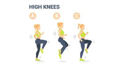 Cardio pour les débutants : 10 min par jour d'exercices faciles à réaliser à la maison. Montée de genoux.